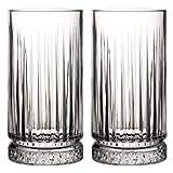 Pasabahce 520015 Longdrink Glas im Retro-Design und Kristall-Look, für Cocktail, Saft, Wasser, Drinks, Schwerer Highball, H ~15 cm, V ~445 ml, 2 Stück