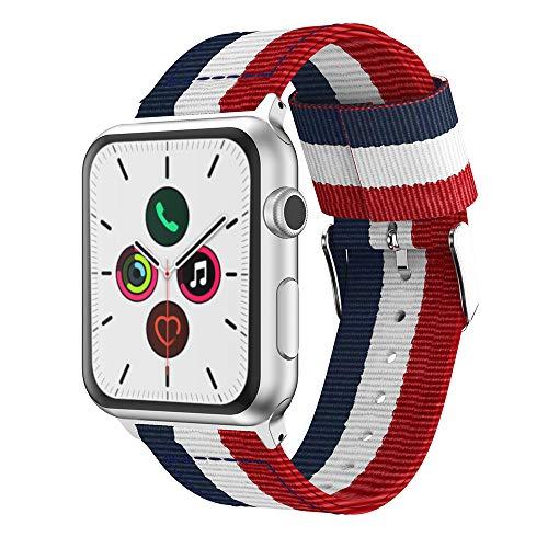Estuyoya - Nylon armband compatibel met Apple Watch kleuren van vlaggen van Frankrijk en Holland, verstelbare vervangende sportstijl Casual Elegant voor 38mm 40mm serie 5/4/3/2/1 Nike + alle modellen