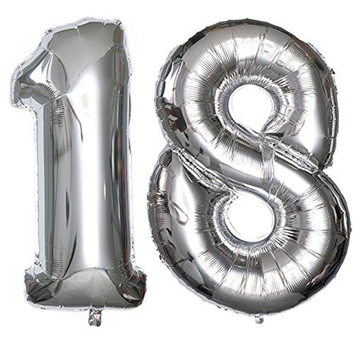 Ouinne Globo 18 Años, 40 Pulgadas Globo del Cumpleaños Número 18 Helio Globos para La Decoración Boda Aniversario (Plata)
