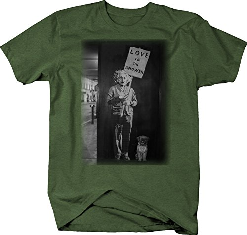 Retro Albert Einstein Love is The Answer Pug Graffiti Art T Shirt for Men Large Heather Military Green