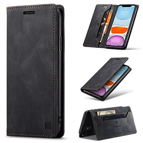 uslion Funda para iPhone 11 [protección RFID] funda para teléfono móvil, tarjetero, billetero, función atril, cierre magnético, funda de piel para iPhone 11, color negro
