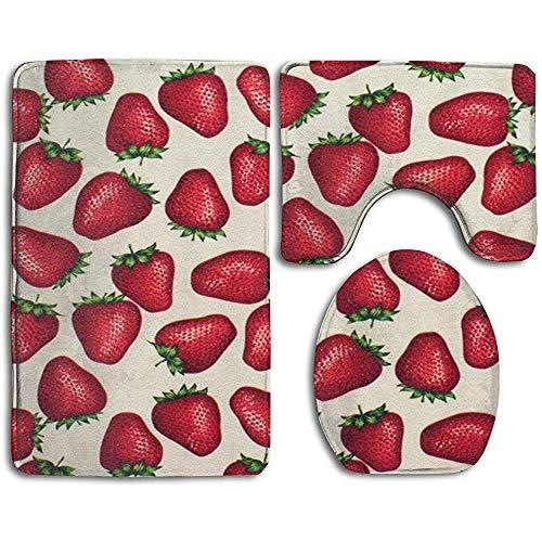 qinzuisp 3-delige badmat Sweet Strawberry anti-slip badtapijt matten set 3-delige print tapijten+wc-stoelhoe+contour mat