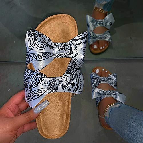 OcaseQ Zuecos para Mujer Cuero Verano Loafer Tacón Bajo Mules Planos Zapatos Sandalias de Punta Descubierta Antideslizantes Zapatillas de Playa,Blanco,37