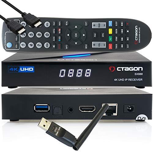 OCTAGON Sx888 4K UHD IP H.265 HEVC Smart TV Set-Top Box - Receptor de televisión por SAT to IP, servidor multimedia, DLNA, YouTube, cable HDMI EasyMouse + Wi-Fi 150 Mbit/s