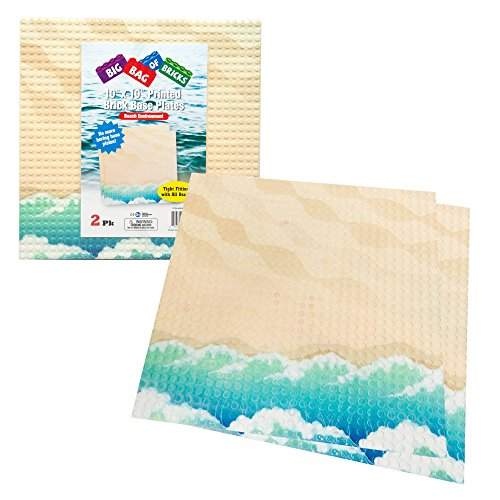 SCS Direct Brick Building Base Plate with Beach Pattern - Large 10x10 Dual Sided Beach Baseplates (2 Pack) for Activity Table
