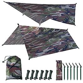 LOOGU Bâche de Camping Anti-Pluie pour hamac – 3 x 3 m – Protection UV et imperméable – Camouflage – Tente pour Aventure…