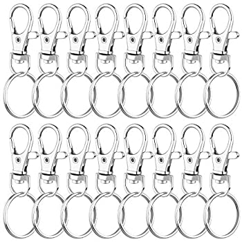 Keychain Rings for Crafts Audab 50 Sets Assembled Key Chains Rings Keychain Hardware Key Rings for Key Chains Crafts and Lanyards