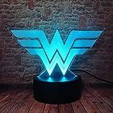 Luz nocturna 3D para niños juguetes de niños, lámpara de ilusión 3D DC Comics 16 colores cambiantes lámpara de escritorio táctil para niños cumpleaños regalos de Navidad