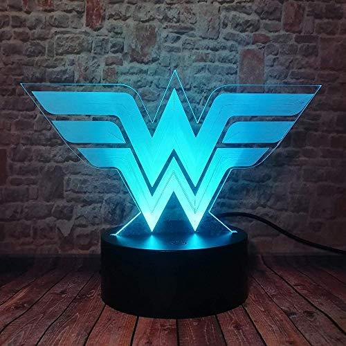 3D ilusión luz nocturna DC Comics 3D lámpara de ilusión óptica USB alimentado 16 colores intermitente interruptor táctil dormitorio decoración iluminación para niños