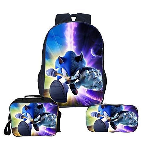 Sonic Backpack 3pcs/lot Sonic Bags Teens Daily Backpack Surprise Gift Children Boys Girls School Backpack 3pcs/Set Backpack+lunchbag+pencilcase