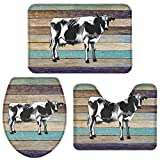 Z&L Home Bathroom Rugs and Mats Set 3 Pcs, American Farm Cow Anti Slip Soft Mats Water Absorbent Bath Rug, Lid Cover, U-Shaped Contour Rug, Country Wood Grain