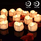 LED Timer Candles, 12pcs Battery Operated Flickering Flameless Tea Light Candles, Automatically 6 Hours On and 18 Hours Off Per Cycle for Thanksgiving Christmas Wedding Party Decoration, Warm White