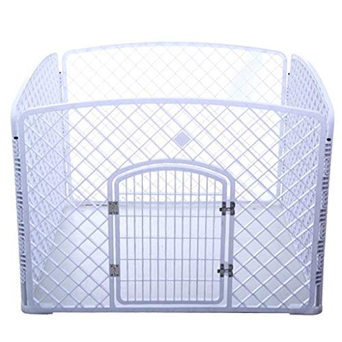 KTDT Indoor Safety Gates Foldable Metal Exercise Pen Pet Playpen For Dog Cat, Small Mediun Animals House Wirh Door, Resin, Indoor Outdoor, 100cmX100cmX75cm (Color : White)