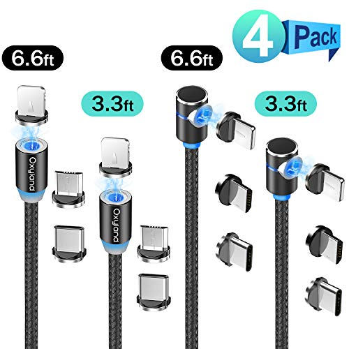Magnetic Charging Cable[4-Pack,3ft/3ft/6ft/6ft],Oxyland Magnetic Phone Charger Cable,3 in 1 Nylon Braided Cord USB Magnetic Cable Compatible with Mirco USB,Type C Smartphone and iProduct Device(Black)