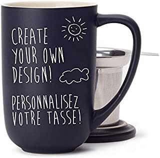 DAVIDsTEA Customizable Nordic Mug Kit with Loose Leaf Tea Infuser, Lid and Pen, Draw Your Own Permanent Design, Black, 16 oz / 473 ml