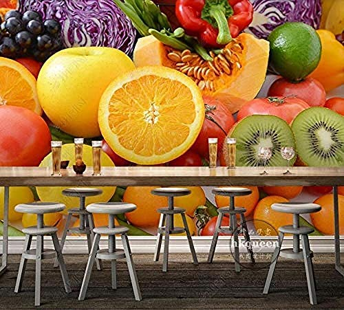 Tapete Obst und Gemüse Grün Orange Kiwi Grüner Pfeffer Papaya Minimalist Modern Home Decor PaintingTapete 3d wandbild tapeten vintage Moderne Papier-250cm×170cm