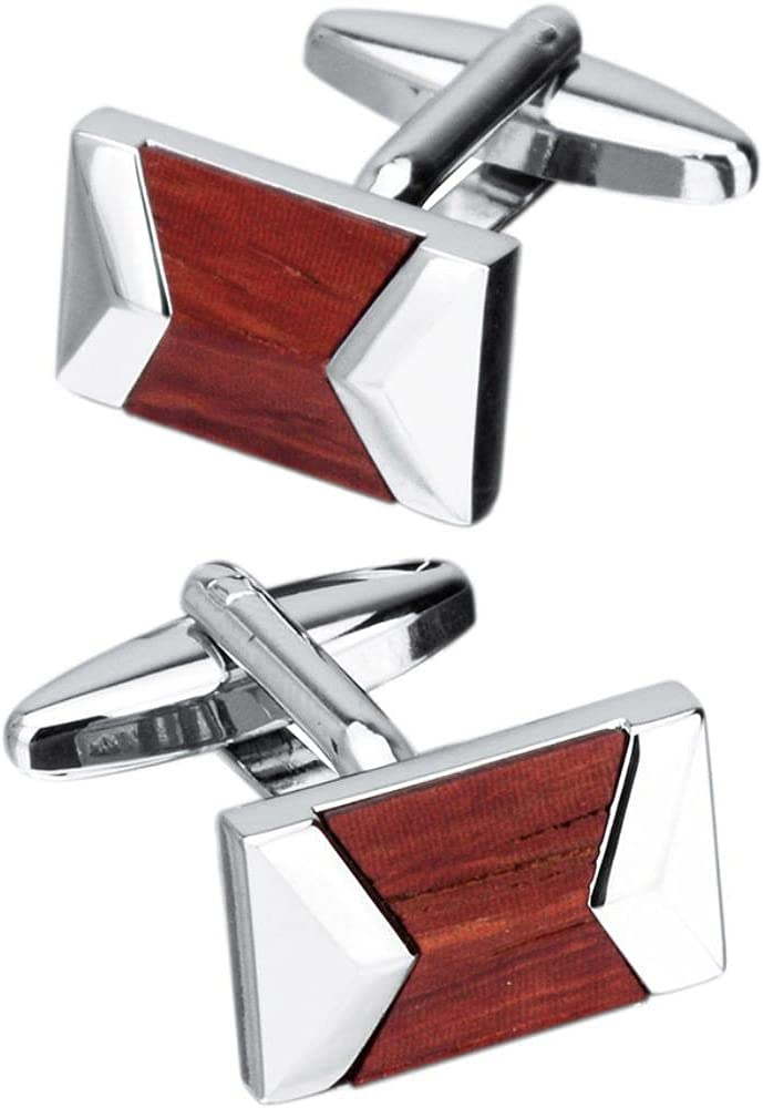 BO LAI DE Men's Cufflinks Geometric Red Sandalwood Stitching Metal Cuff Links Suitable for Business Events, Meetings, Dances, Weddings, Tuxedos, Formal Wear, Shirts, with Gift Boxes