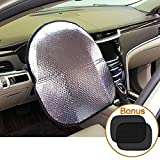 Big Ant Steering Wheel Cover Sun Shade + Bonus Side Window Sunshade-Heat Reflector Fit Most Jumbo/Standard Car-Sliver (20.1'X 17.3')