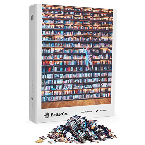 BetterCo. - Bookshelf Jigsaw Puzzle 1000 Pieces - Difficult Jigsaw Puzzles 1000 Pieces - Challenge Yourself with 1000 Piece Puzzles for Adults and Teens