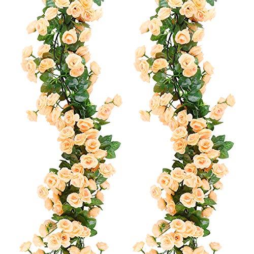 VINFUTUR 2×180cm Künstliche Rosengirlande Künstliche Blumengirlande Hängend Kunstblumen Seidenblumen Rosen Girlande für Zuhause Valentinstag Hochzeit Party Bogen Dekoration
