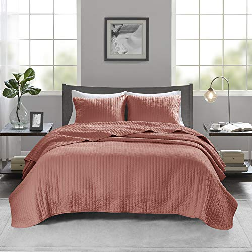 """Madison Park Keaton Quilt Set - Casual Channel Stitching Design Anti-Microbial Treated, All Season, Lightweight Coverlet Bedspread Bedding, Shams, King/Cal King(104""""x94""""), Stripe Coral 3 Piece"""
