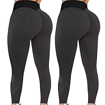 2PC Butt Lifting Anti Cellulite Leggings for Women High Waisted Yoga Pants Workout Tummy Control Fitness Sport Tights