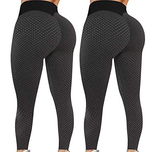 Liably 2PC Damen Stretch Yoga-Hosen, Fitness Lauf Gym Sport Active Pants, Honeycomb-Hosen, Anti-Cellulite, mit hohen Taille, Compression Sport Fitness mit Bauchkontrolle Schwarz XX-Large