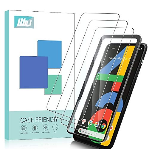 [3-Pack] WRJ for Google Pixel 4a Screen Protector,[Easy Installation Frame] HD Anti-Scratch Anti-Fingerprint No-Bubble 9H Hardness Tempered Glass