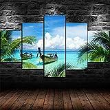 Cuadro Moderno En Lienzo 5 Piezas XXL Tropical Beach Boats Island Tree HD Abstracta Pared Imágenes Modulares Sala De Estar Dormitorios Decoración para El Hogar 150X80Cm