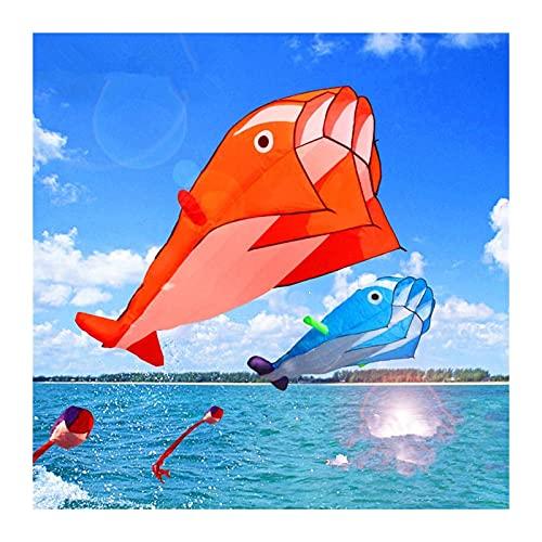 SSSSY Dolphin Kite Soft Nylon Tela Línea Línea Cometas Animadas Pesca Cometa Inflable Juguete Al Aire Libre Volar Parafoil Pulpo (Color : 2 Red)