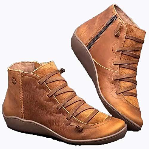 WggWy - Botas de tobillo para mujer, estilo retro, con marco de cremallera lateral, estilo vintage, piel impermeable, amortiguador, zapatillas de tacón plata,marrón, 37
