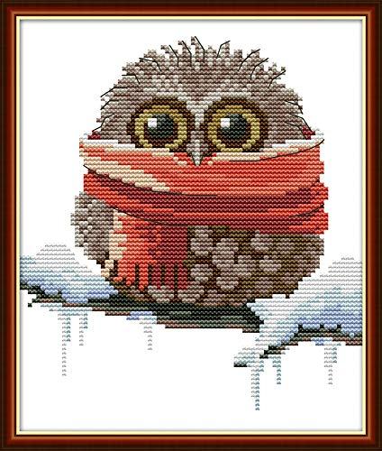 Maydear Full Range of Embroidery Starter Kits Stamped Cross Stitch Kits Beginners for DIY Embroidery (Multiple Pattern Designs) - Owl with a Scarf
