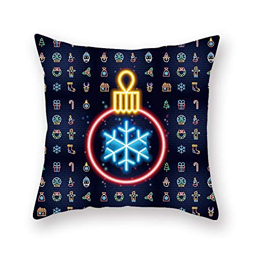 XINRJY 3D Santa Printed Pillowcase Home Decor European Modern Simple Bedroom Living Room Cafe Car Cushion Cover Quick-Drying Does Not Fade