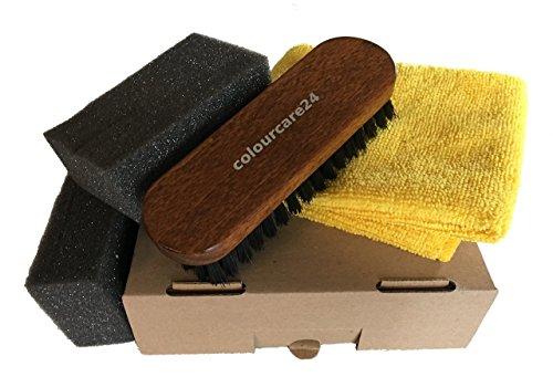 colourcare24 - Kit d'accessoires pour lavage profond intérieur de voiture en cuir, brosse pour cuir et cuir, chiffon en microfibre pour nettoyage intérieur de voiture, canapé,