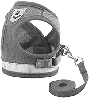 Beauenty Dog and Cat Universal Harness with Leash Set, Adjustable Reflective Soft Mesh Corduroy Small Dog and Cat Harnesse...