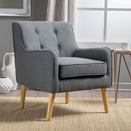 Christopher Knight Home Felicity Mid-Century Fabric Arm Chair, Charcoal
