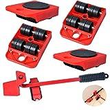 Elevador de Muebles con Ruedas, Juego de Herramientas de Muebles Pesados para Mover Sofás y Refrigeradores Máximo Carga 200 kg/440Libras por Poweka(Rojo)
