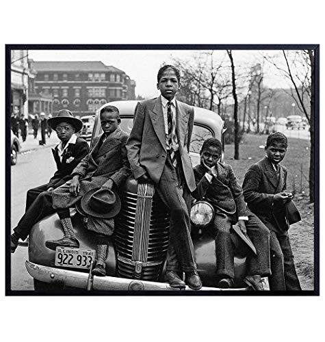 African American Boys Vintage Photograph Wall Art - 8x10 Photo Picture - Cool Gift for Black History Month, Martin Luther King, MLK Day, Civil Rights Teacher, Classroom - Unframed Poster Print