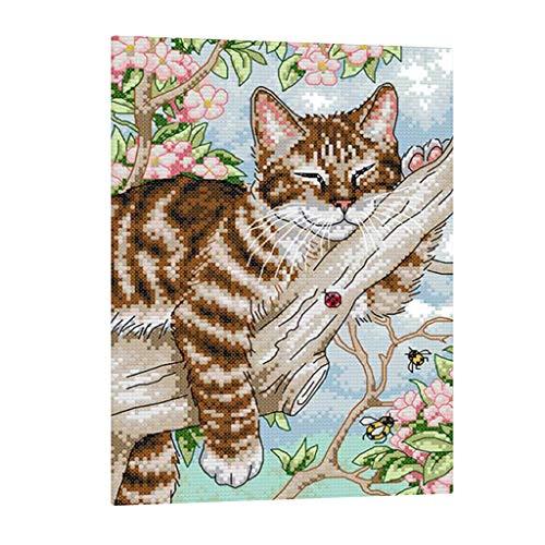 Baoblaze Stickvorlage Kreuzstich Stickerei Stickbild (Katze) Stickpackung Handarbeit DIY mit Anleitung - 27 × 39 cm 11CT