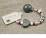 Baby SCHNULLERKETTE mit Namen – Mädchen Jungen Schnullerhalter mit Wunschnamen – Herz Ornament in grau