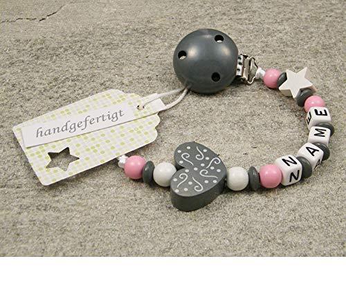 Baby SCHNULLERKETTE mit NAMEN - Schnullerhalter mit Wunschnamen - Mädchen Motiv Herz Ornament in grau