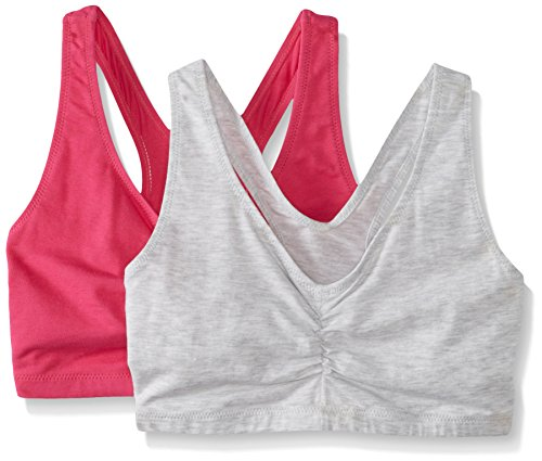 Hanes Women's Comfort-Blend Flex Fit Pullover Bra (Pack of 2),Heather Grey/Fuchsia Purple,Medium