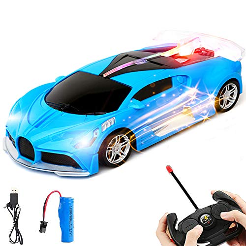 Ainy Remote Control Car - 1/18 Scale Blue Drift Racing Car Toy Model Vehicle, Remote Toy Racing with Led Lights and Music High Speed RC Toys Car for Kids 3+ Year Old