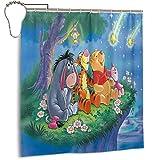 Cute Doormat Winnie The Pooh Glitter Stars Bathroom Shower Curtain Shower Curtains Durable Fabric Bath Curtain Waterproof Bathroom Curtain with 12 Hooks