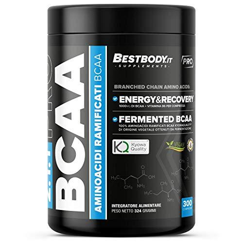 BCAA PRO Kyowa 2:1:1 (300cpr) - Senza Glutine - Aminoacidi Ramificati BCAA 2:1:1 di origine vegetale, materia prima Kyowa, ottenuti per fermentazione, in compresse da 1 grammo con Vitamina B6
