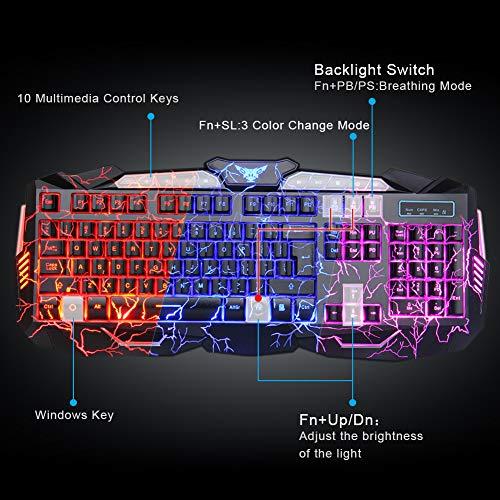 BlueFinger Gaming Keyboard Mouse Headset Combo,USB Wired Crack Backlit Keyboard,114 Keys Letters Glow LED Keyboard,Red LED Light Headset for Laptop PC Computer Game Work