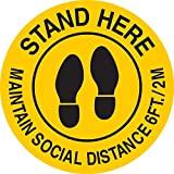 Konnect Stand Here Maintain Social Distance Floor Stickers & Signs   in Awareness of Coronavirus or Covid-19   Slip Resistance, Durable & Strong Adhesive   Easy to Apply & Remove.