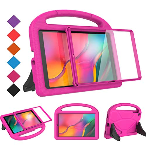 BMOUO Kids Case for Samsung Galaxy Tab A 10.1 (2019) SM-T510/T515 - Built-in Screen Protector, Shockproof Light Weight Handle Friendly Kids Case for Galaxy Tab A 10.1 inch 2019 Release - Rose