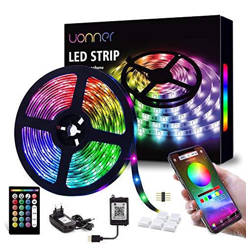 Tiras LED, UONNER Tiras de Luces LED Smart 5050 Control APP,Luces Led Habitacion con Controlador Bluetooth Sincronizar, con Música Solicitar TV Dormitorio (5M) [Clase de eficiencia energética A+]
