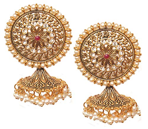 Pahal Traditional Red Kundan Floral Round Big Oxidized Gold Jhumka Earrings Indian White Pearl Bollywood Jewelry for Women